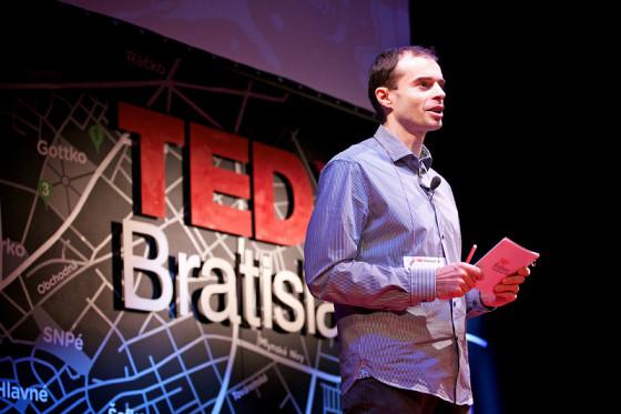 Rasto on stage of TEDxBratislava